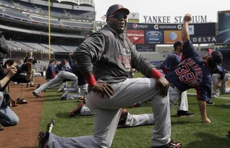 David Ortiz was not in the lineup due to a foot injury, but he was on the field stretching with teammates prior to the game.